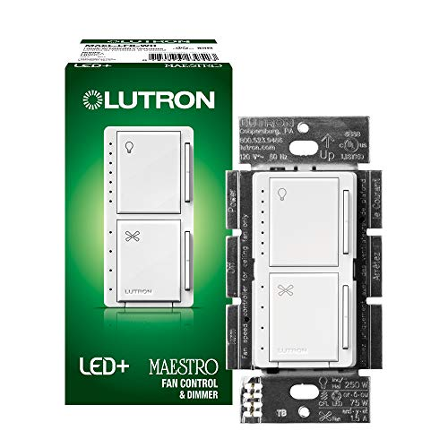 Lutron Maestro LED+ Fan Control and Dimmer for LEDs, Halogen and Incandescent Bulbs | Single-Pole | MACL-LFQ-WH | White
