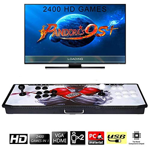 【2400 Games in 1】 Arcade Game Console Ultra Slim Metal Double Stick 2400 Classic Arcade Game Machine 2 Players Pandoras Box 9S 1280X720 Full HD Video Game Console for Computer & Projector & TV