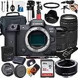 Canon EOS R5 Mirrorless Digital Camera with RF24-105mm F4-7.1 STM + EF75-300mm F/4-5.6 III Lens + Mount Adapter EF-EOS R + 32GB Card + Tripod + Case + MegaAccessory Bundle (23pc Bundle) (SanDisk 32GB)