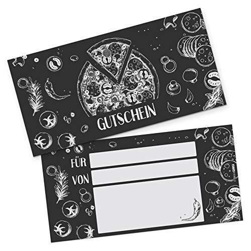 itenga Geschenkgutschein Verpackung I Geschenkkarte I Motiv Pizza Zeichnung I Gutschein I 21,0 x 10,5 cm I Postkarte zum Ausfüllen