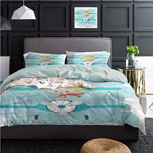 Adventure 3 Piece Duvet Cover Bedding Sets Cute Girl on Plane Best Material/Highly Durable (1 Duvet Cover and 2 Pillow Shams) Twin Size