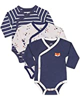 Baby Boy 3-Pack Long-Sleeve Kimono Bodysuit Set, Infant Boy Bundle Includes Blue Fox Onesie, Arrow Bodysuit and Navy-Striped Outfit.
