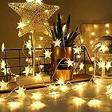 Luces de Hada Estrella, 10M 100 LED Luces de hada 8 modos Luces de Cadena USB Estrella luces de cadena con Control remoto para árbol de Navidad, boda, Halloween, fiesta de cumpleaños (Blanco cálido)