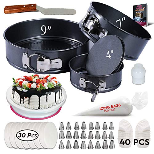 150Pcs Cake Decorating Supplies Kit with Baking supplies- Springform Pan Set -Cake Turntable stand-24 Numbered Piping Tips & Bags - Icing Spatula and much more.