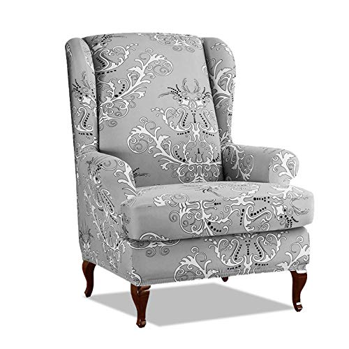 PETCUTE Sesselbezüge Ohrensessel Bezug Stretch Sesselbezug für Ohrenbackensessel Husse Passt Perfek für Ohrensessel mit Muster Blumen Grau