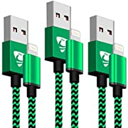 iPhone Charger Cable MFi Certified Aione iPhone Cable [3Pack 2m] Nylon Braided Phone Charger Fast Charging Cable Compatible with iPhone X 8 8 Plus 7 7 Plus 6s 6 6s Plus 5 5s SE iPad iPod - Green