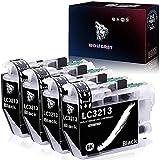 Wolfgray LC3211 LC3213 Tinta Compatible para Brother LC3213 LC 3213 Cartuchos de Tinta para Brother DCP-J572DW MFC-J491DW MFC-J497DW DCP-J772DW DCP-J774DW MFC-J890DW MFC-J895DW Impresora (4 Negro)