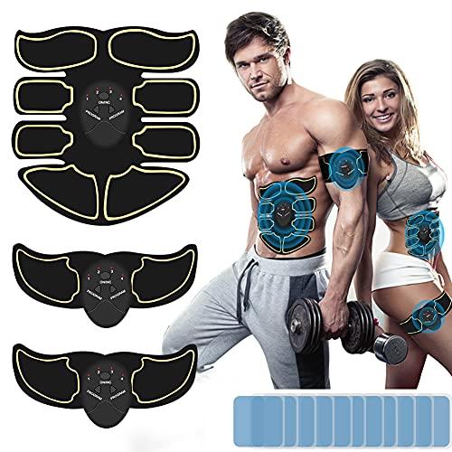 DCUKPST EMS Muskelstimulator Bauchmuskeltrainer, EMS Trainingsgerät USB Wiederaufladbarer Tragbarer Muskel Trainer mit 6 Modi & 9 Intensitäten für Bauch,Arm,Bein-Fitness Trainings Gang