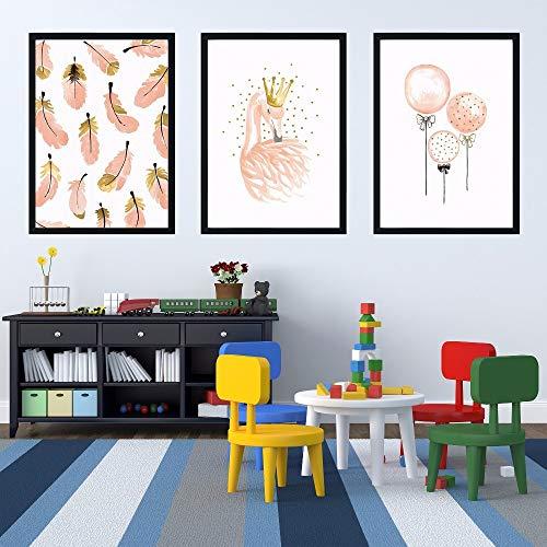 Gif cartoon kleurrijke kasteel karakter silhouet roze ballon vogel woondecoratie canvas schilderij foto print muur poster woonkamer slaapkamer drieluik 5 40x60cmx3 GEEN Frame
