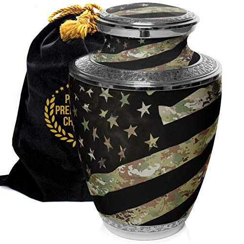 Prime Preferred Choice Military Army, Navy, Air Force, Marine Veteran Camouflage Flag Cremation Urns for Human Ashes Adult, Urns for Ashes, Cremation Urns for Adult Ashes (Army OCP, Large/Adult)
