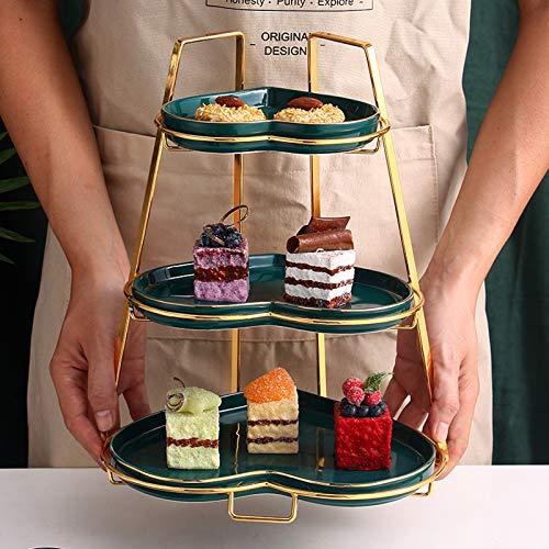 XHHXPY Soporte para Tartas de 3 Pisos, Bandejas para Tartas, Cupcake y Torre de Postre, Bandeja de Fruta de Cerámica en Forma de Corazón para Boda Fiesta Tarde Cumpleaños
