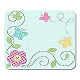 Alfombrillaratón Shabby Dot Cute Retro Spring As Patch Apliques De Flores Y Mariposas Baby Patchwork Alfombrilla para Ratón Trabajo De Oficina 25 X 30Cm Mousepad Mousepad Escuela
