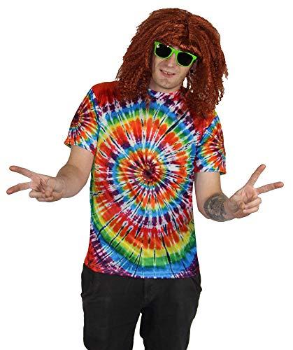 Foxxeo 70er Jahre Batik T-Shirt für Hippie Hippie Kostüm Herren Größe L