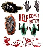 Becho 3D pegatinas de ventana de Halloween pegatinas de pared para puerta piso baño con huellas sanguinolentas manos, demonios, zombies, fantasmas sombra para decoraciones de fiesta de Halloween