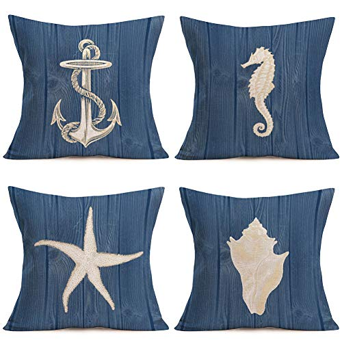 Hopyeer Blue Ocean Vintage Wood Plank Throw Pillow Covers Cotton Linen Decor Nautical Theme BoatAnchor Seahorse Sea Star Conch Pillowcase Sofa Couch Cushion Cover 18'x18' 4Pcs (BO-Ocean)