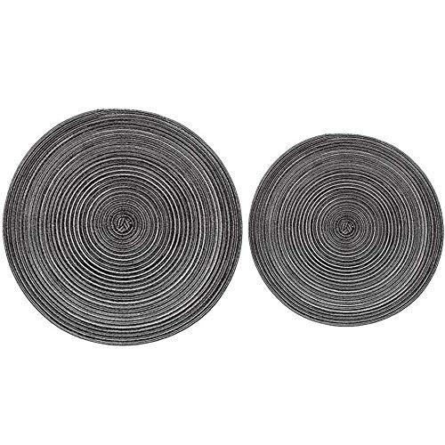 THUMBGEEK 2 posavasos con diseño redondo sólido de Ramio, manteles individuales de lino antideslizante, accesorios de cocina (gris)