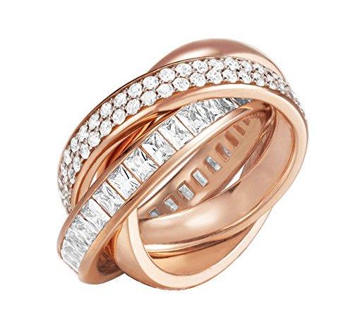 ESPRIT Glamour Damen-Ring ES-TRIDELIA ROSE teilvergoldet Zirkonia transparent Gr. 57 (18.1) - ESRG02258C180