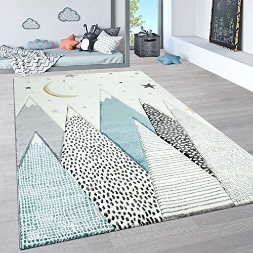 Paco Home Alfombra Infantil, Alfombra Pastel Habitación Infantil con Nubes 3D Y Motivos De Estrellas Arcoíris, tamaño:80x150 cm, Color:Crema