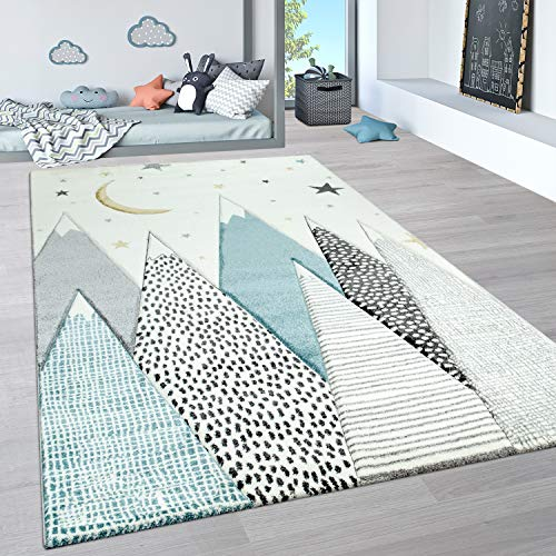 Paco Home Alfombra Infantil, Alfombra Pastel Habitación Infantil con Nubes 3D Y Motivos De Estrellas, tamaño:80x150 cm, Color:Crema
