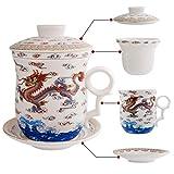 XYSQWZ Juego De 4 Tazas De Té con Diseño De Dragón Chino Taza De Té De Porcelana con Colador Infusor Tapa Y Platillo Sistema Conveniente Tazas De Té Personales De Cerámica De China