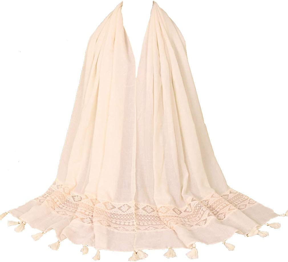 LMVERNA Women's Popular brand in the world Lace Cotton Scarf Solid Spasm price Fashion Long Shawl