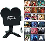 Dzhzuj Halloween Window Projector, Halloween Holographic Projection with Tripod,Halloween Window Projector with 12 Movies, Outdoor Garden Decoration for Halloween Or Christmas