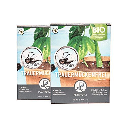 Plantura Bio Trauermückenfrei Neem, 2er Set, wirksames Gießmittel gegen Trauermücken aus Neem, 150 ml