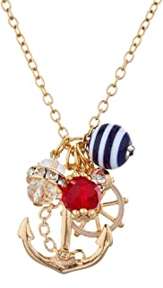 Sailor Nautical Cluster Anchor Ship Wheel Charm Necklace