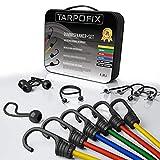 Tarpofix® Premium Gepäckspanner Gummispanner - 24-teiliges universal Spanner Expander-Set inkl. Planenspanner kurz - extra Starke Spanngummis mit Haken für Fahrrad, Motorrad & Auto (25-100cm länge)