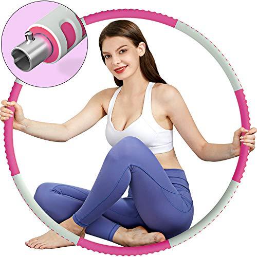 TvvaaFog Fitness Reifen Erwachsene Hoop, Stabiler Edelstahlkern mit Premium Schaumstoff, Komfortabler und Längeres Leben, 1,2 kg zum Abnehmen (Rose-Grau)