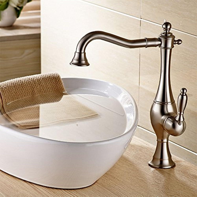 ETERNAL QUALITY Badezimmer Waschbecken Wasserhahn Messing Hahn Waschraum Mischer Mischbatterie Tippen Sie auf Das Kupfer Nickel-gebürstet Bad 360° drehbar Pan hohen, kalt