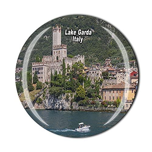Imán para nevera de 3D Lago Garda en 3D para recuerdo de cristal de recuerdo de viaje, colección de recuerdos para el hogar y la cocina