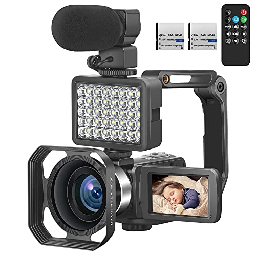 Camcorders Video Camera 4K, Camera for YouTube Live Streaming 56MP, Easy to Use Vlogging Camera with External Microphone, IR Night Vision 16X Digital Zoom WiFi Remote Control Video Recorder