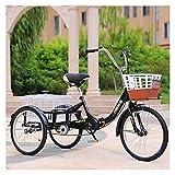 FGVDJ Bicicleta de 20 Pulgadas y 3 Ruedas, Triciclo para Adultos, Plegable, para Personas Mayores, Triciclo de Carga para Compras, Bicicleta de una Sola Velocidad con luz y Can