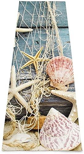 Esterillas de gimnasia para yoga, pilates, ejercicio de equilibrio, etc. (70 x 24 x 0,1 x 0,1 cm), diseño de conchas de mar de playa
