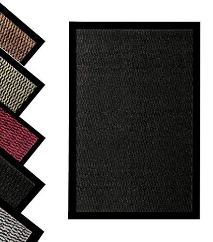 Bear & Panda - Schmutzfangmatte – Indoor/Outdoor rutschfeste waschbare Barriere Fußmatte Heavy Duty Eingang Teppich Schuhe Schaber, super saugfähige Vorderfußmatte Teppich (schwarz, 40 x 60 cm)