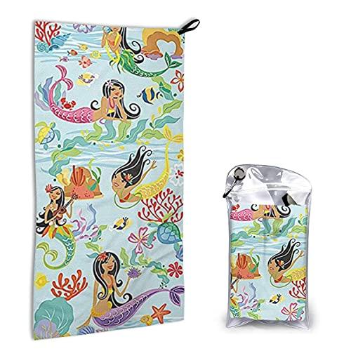 Toallas de Playa de Secado rápido Hawaii Island Hula Mermaids,Toallas de Playa sin Arena Toalla de baño portátil Toalla de Playa de Viaje,Toalla de Deportes de natación
