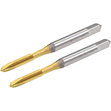 uxcell Spiral Point Plug Threading Tap M3 x 0.5 Thread, Ground Threads H2 3 Flutes, High Speed Steel HSS 6542, Titanium Coated, Round Shank with Square End, 2pcs