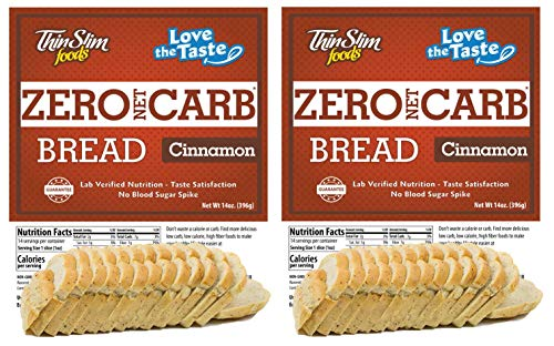 ThinSlim Foods Keto Low Carb Bread - Cinnamon Bread, 2 Pack (14 Slices Each)