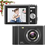 toberto HD Digital Camera, 1080P Vlogging LCD Mini Camera with 16X Zoom 44MP 2.7K Digital Point and Shoot Camera Video Camera, Indoor Outdoor for Kids Students Beginners