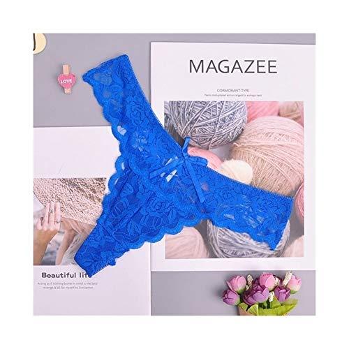 Linyuex Frauen Spitze bequem und atmungsaktiv Zapfen G-Schnur Unterwäsche-Schlüpfer Slips for Damen T-Back (Color : 87169slan, Size : Medium)
