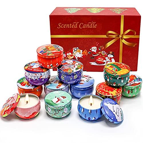ampusanal Juego de Regalo de Vela de Navidad con Aceite Esencial de Planta de Vela de aromaterapia navideña de 12 Piezas Effective