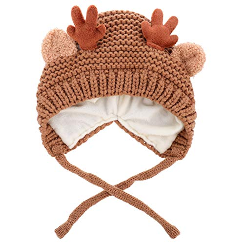 TOYANDONA Cute Reindeer Antlers Kids Toddler Warm Hat Crochet Knitted Beanie Cap Photo Prop Christmas Children Warm Hat Party Favors Supplies Khaki