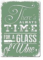 常にワインの時間。 ブリキサインヴィンテージ鉄塗装メタルプレートノベルティ装飾クラブカフェバー。