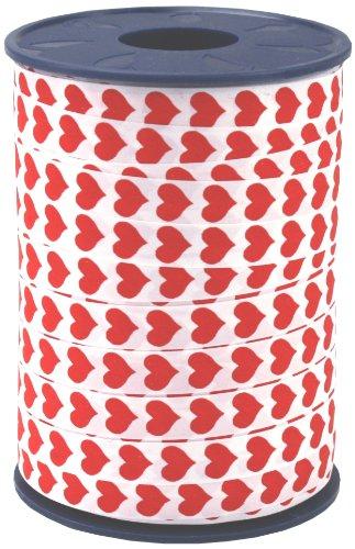 Präsent - Cinta para regalo (10mm, 250m), diseño de corazones, color rojo y blanco