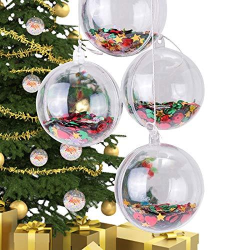 BESTINE 24 Palline Natalizie Trasparenti, Riempibile Sfera Ornamento Albero Natale Trasparente FAI Da Te per Natale Capodanno O Altre Decorazioni a Tema Invernale (80MM)