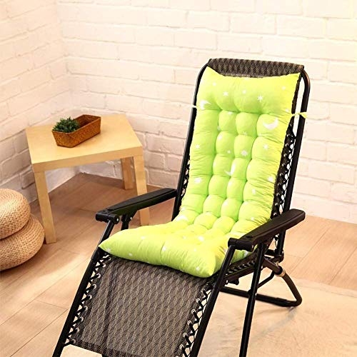 Soft Sun Lounger Kissenpolster Stuhlsitzbezug Loungepolster Dickes gepolstertes Sitzkissen Patio Relaxer Kissen mit Befestigungsbändern 110x40cm-Grasgrün