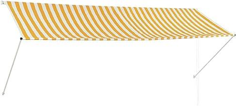 vidaXL Zonwering Uitschuifbaar 350x150 cm Geel en Wit Zonnescherm Zonneluifel
