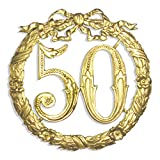 Walter Kunze Jubiläumszahl 50, Ø 24 cm, Gold,