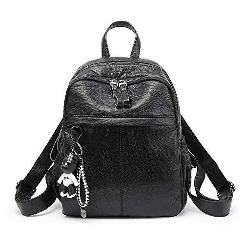 YQXR Bolsos y bandoleras Nueva mochila para mujer bolsos de moda Top asa Satchel Tote PU cuero bolsas de hombro (Color : Negro, Size : One Size)
